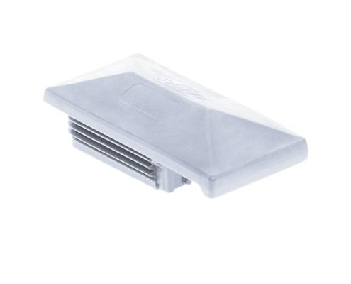 Pfosten Zubehör - Kunststoff Pfostenkappe mit Dachüberstand hellgrau